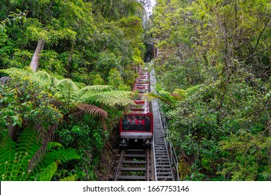 Scenic Railway at the Blue Mountains, Sydney Australia. World heritage Blue mountains with Scenic Railway moving around beautiful landscape.