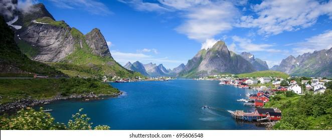 Scenic Reine Village in Summer, Lofoten Islands, Norway