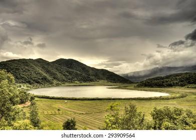 The scenic Rhi Lake near the Indian border in Chin Stae, Myanmar (Burma)