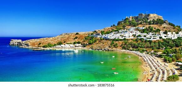 scenic Rhodes island, Lindos bay. Greece