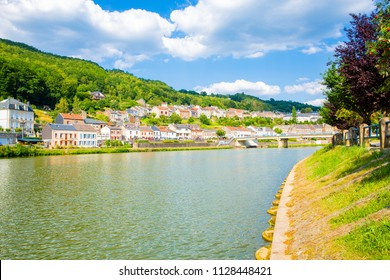 Scenic Monthermé and the river Meuse in French Ardennes, Region Grand Est, Champagne-Ardenne, France