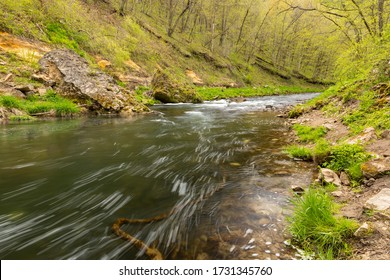 A scenic river in the woods during spring.