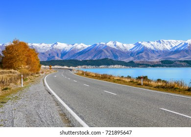 Scenic Road along Lake Tekapo  at beautiful  sunny morning . 