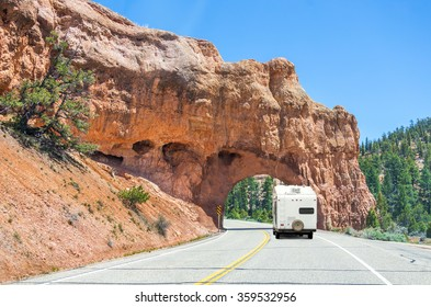 Scenic road to Bryce canyon, Utah, USA, camper trailer