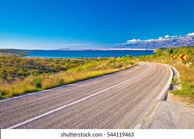 Scenic road by the sea in Croatia, Zadar background and Pag island
