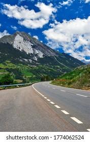 Scenic road of Great St Bernard Pass