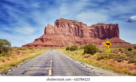 Scenic road to the Monument Valley, one of the top tourist attractions in USA.