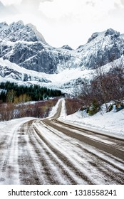 Scenic road to Nusfjord  (Lofoten, Norway) in the winter