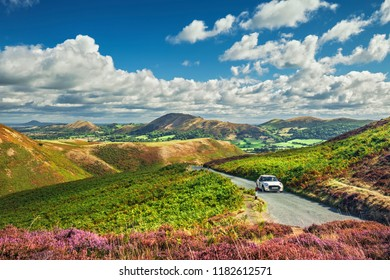 Scenic road on the top of hill of scenic Carding Mill Valley in Shropshire, UK