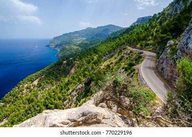 Scenic road in the Serra de Tramuntana of Majorca
