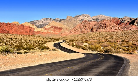 Scenic road through mountainous desert. Red Rock Canyon National Conservation Area. Nevada.