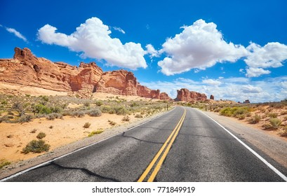Scenic road, travel concept picture, Arches National Park, Utah, USA.
