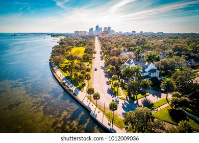 The scenic road where ocean meets city view to Downtown Saint Petersburg, Florida.