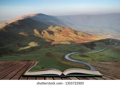 A scenic road winds its way through the Edale Valley on a foggy Winter morning in the Peak District in pages of open book, story telling concept