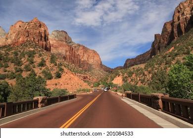 Scenic Road in Zion National Park, Utah, USA