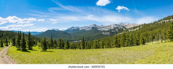Scenic Rocky Mountain views, Hiking Nihahi Ridge Kananaskis Country Alberta Canada