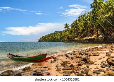 Scenic Ross island sea beach Andaman with wooden boat.