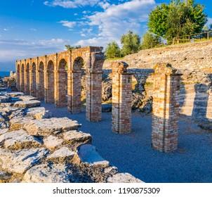 Scenic ruins of Grottoes of Catullus, roman villa in Sirmione,  Lake Garda, Italy