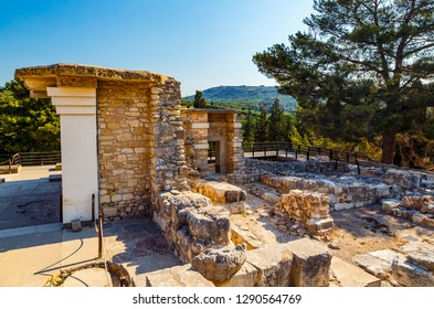 Scenic ruins of the Minoan Palace of Knossos. Knossos palace is the largest Bronze Age archaeological site on Crete of Minoan civilization and culture
