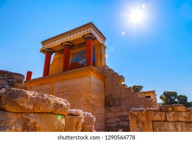 Scenic ruins of Minoan Palace of Knossos on Crete, Greece