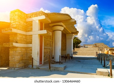 scenic ruins of Minoan Palace of Knossos. Knossos palace is the largest archaeological site on Crete of the Minoan civilization and culture