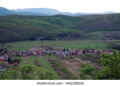 Scenic Rural landscape, aerial view on village