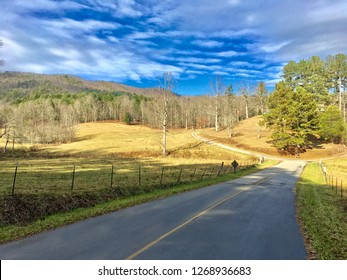 Scenic rural road with pasture and mountains.