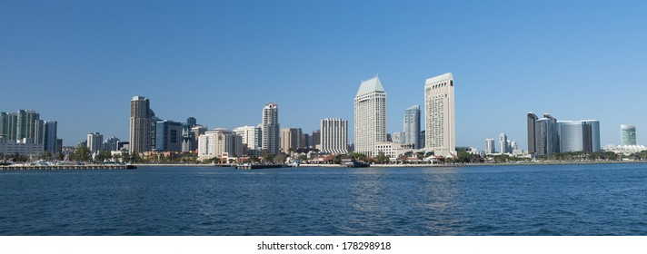 Scenic San Diego Bay and tall buildings downtown