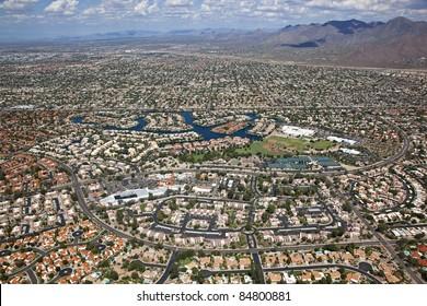 Scenic Scottsdale, Arizona sprawl from above