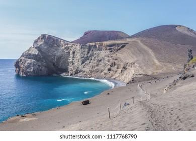 Scenic seascape with Capelinhos Volcano in Faial Island, Azores, Portugal