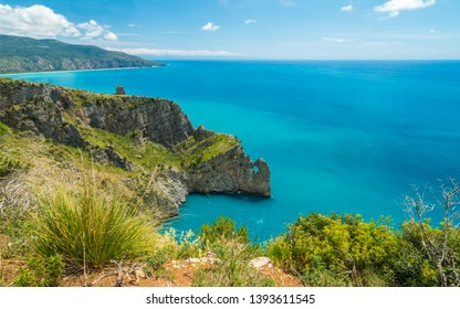 Scenic seascape with cliffs at Palinuro, Cilento, Campania, southern Italy.