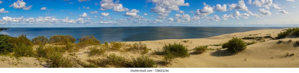 Scenic seascape on Curonian Spit in  Kaliningrad Region, Russia