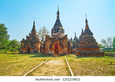 The scenic shrines of Daw Gyan Pagoda are notable historical landmark of Ava (Inwa), surrounded by lush greenery, Myanmar.