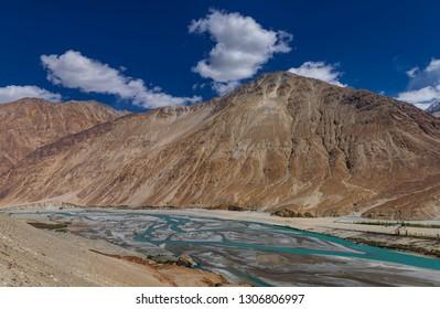 Scenic Shyok river valley at ladakh, jammu and Kashmir, India