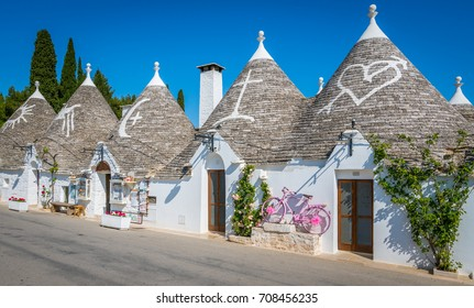 Scenic sight in Alberobello, the famous Trulli village in Puglia (Apulia), southern Italy.