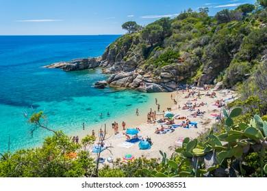 Scenic sight of Cavoli beach in Elba Island, Tuscany, Italy.