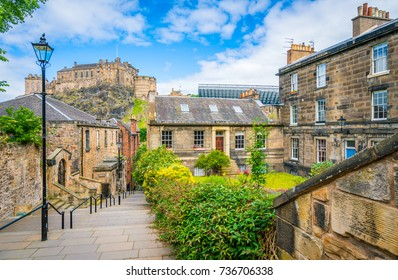Scenic sight in Edinburgh with the Castle in the background. Scotland.