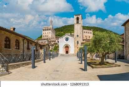 Scenic sight in Gubbio with Palazzo dei Consoli and the Church of Giovanni Battista, medieval town in the Province of Perugia, Umbria, central Italy.