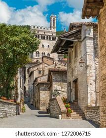 Scenic sight in Gubbio with Palazzo dei Consoli. Umbria, central Italy.