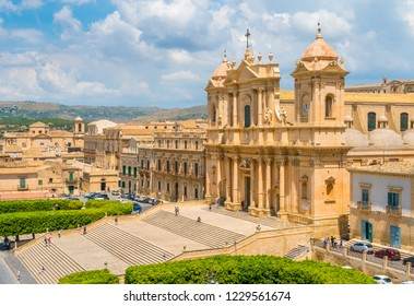 Scenic sight in Noto with the Cathedral (Basilica Minore). Province of Syracuse, Sicily, Italy.