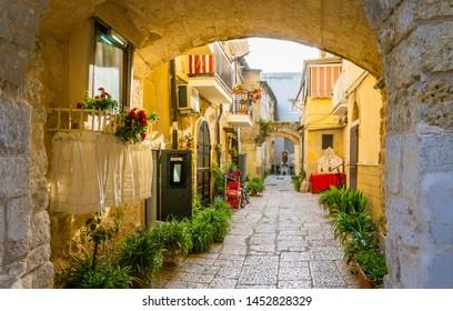Scenic sight in old town Bari, Puglia (Apulia), southern Italy.