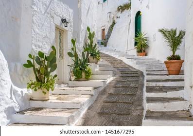 Scenic sight in Ostuni in a sunny summer day, Apulia (Puglia), southern Italy.