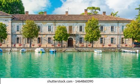 Scenic sight in Peschiera del Garda, village on Lake Garda, in the Province of Verona, Veneto, Italy.