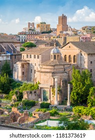 Scenic sight in the Roman Forum, with the Temple of Romulus and the Tower of the Militia. Rome, Italy.