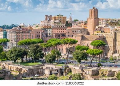 Scenic sight in the Roman Forum, with the Tower of the Militia and the Trajan's Market. Rome, Italy.