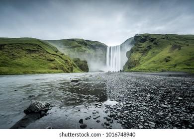 Scenic Skogafoss waterfall in Iceland