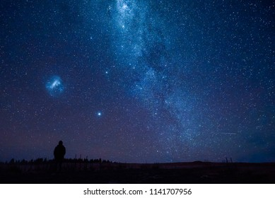 The scenic sky with galaxy at lake Tekapo, New Zealand