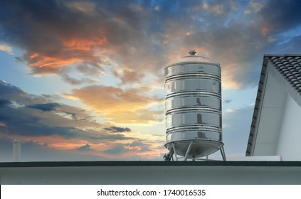 scenic sky on the roof of stainless steel storage water tank