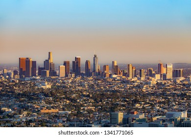 scenic skyline of Los Angeles in afternoon light