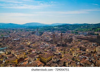 Scenic Skyline View of Florence (Firenze) City against Clear Sky Day, Living in Florence (Firenze), Famous Art City in Renaissance Era, Florence, Tuscany, Italy.